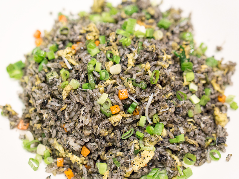 Black Sesame Fried Rice with Crab Meat