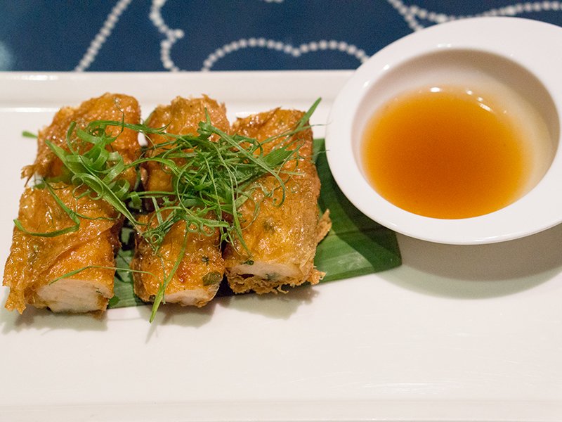 Crispy Bean Curd Skin Roll Filled with Shrimps and Preserved Vegetables
