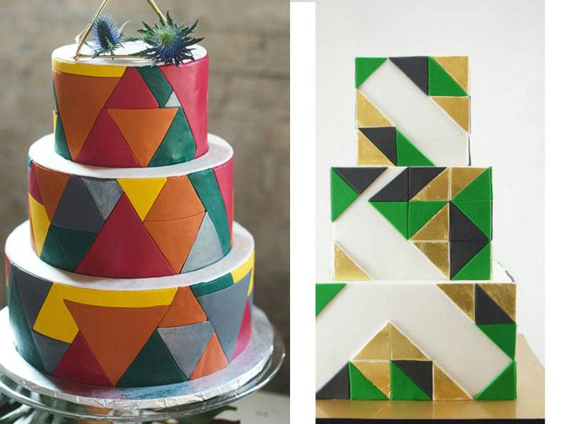 Kue Pengantin Berdesain Geometri