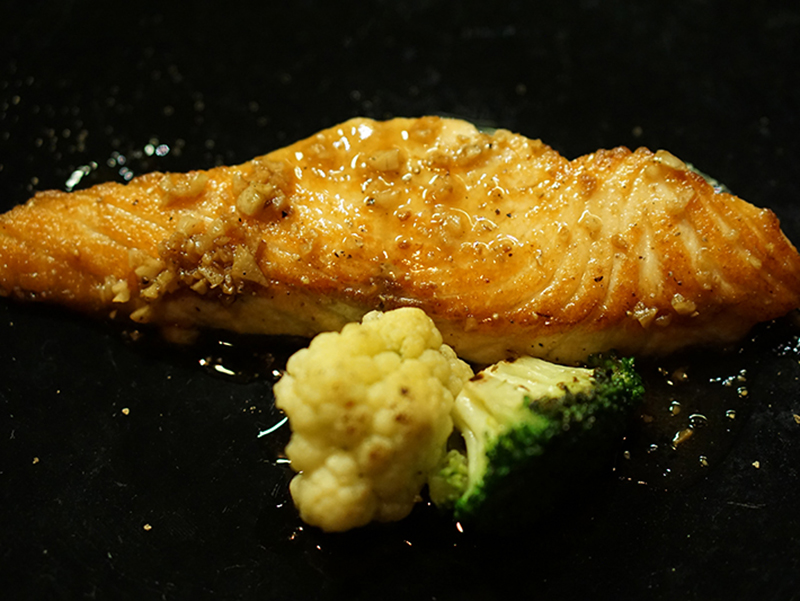 Fresh Salmon With Butter Lemon Soy Sauce