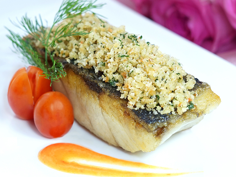 Pan-fried Cod Fish with Herb Crusted and Carrot Pure