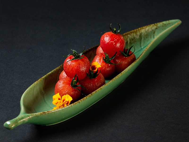 Marinated Cherry Truss Tomato with Homemade Wild Plum Syrup